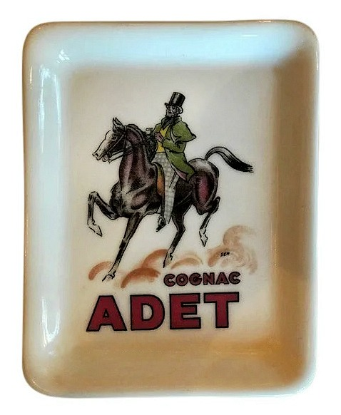 Limoges France Cognac Adet Porcelain Ashtray