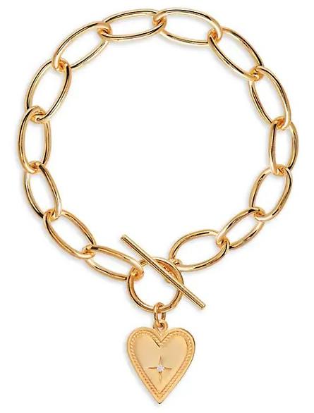 Gabi Rielle Gold Vermeil and Cubic Zirconia Heart Toggle Bracelet