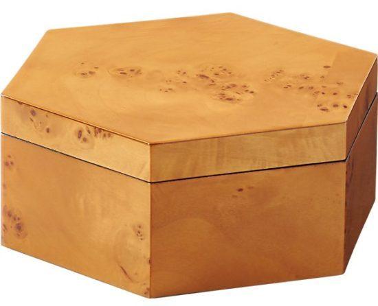 burl wood hexagon storage boxes