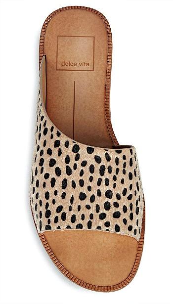 Dolce Vita Peigi Leopard Print Calf-Hair Sandals