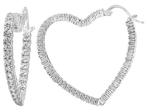 Bella Luce® 4.80ctw Diamond Simulant Rhodium Over Silver Heart Hoop Earrings