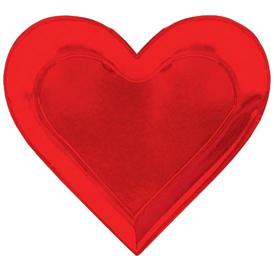 Metallic Shaped Heart Dinner Plates