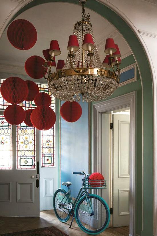 red-shades-chandelier