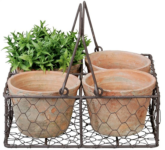 4 Terracotta Pots In Wire Basket