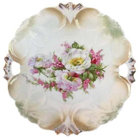 Floral Cake Plate from Germany with 2 Handles