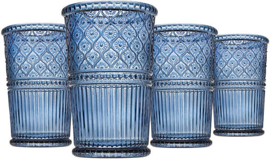 Godinger Claro Blue Highball Glasses, Set of Four
