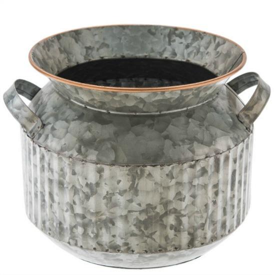 Round Galvanized Metal Planter With Handles