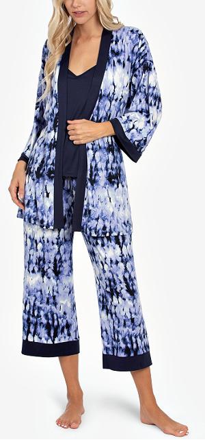 Tie-Dye Robe, Cami & Capri 3pc Loungewear Set