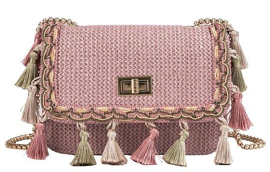 Wulofs Fashion Women Weaving Tassel Shoulder Bag Messenger Bag Crossbody Bag Beach Straw Bag (Pink)