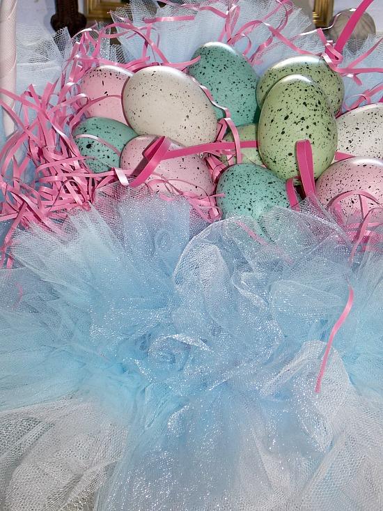 tulle-net-speckled-eggs