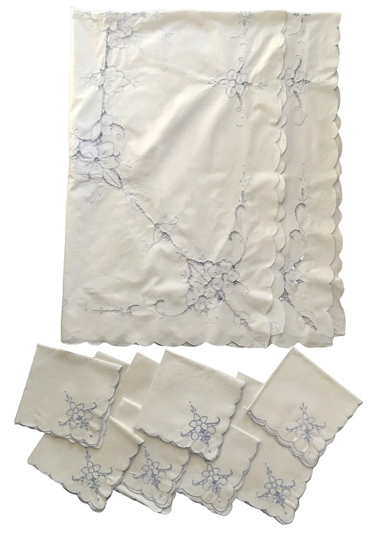 White Linen Cutwork Tablecloth and Napkin Set