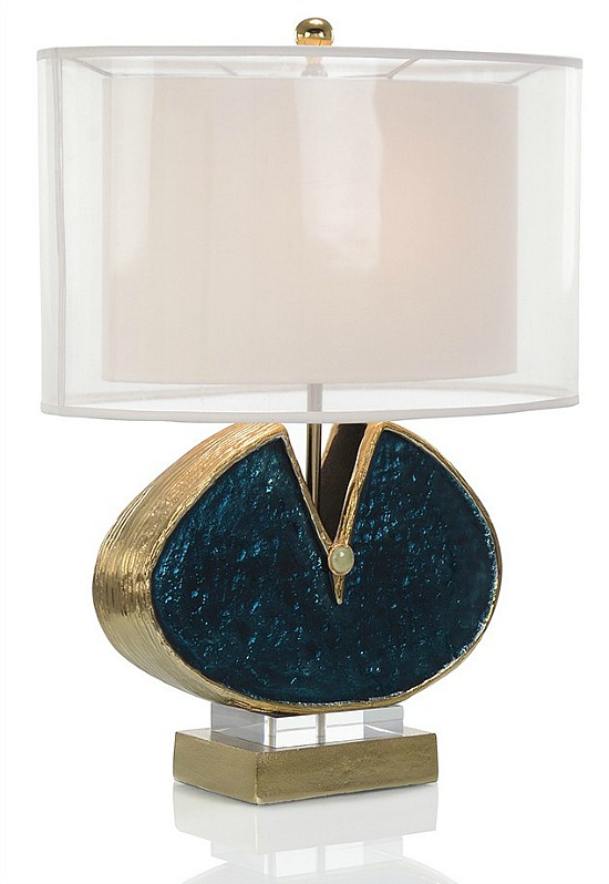 John-Richard Antique Gold and Blue Enamel Table Lamp