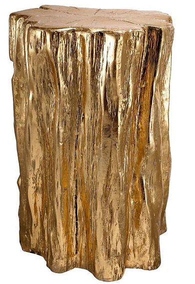 20 in. Golden Gold Tree Trunk Stool