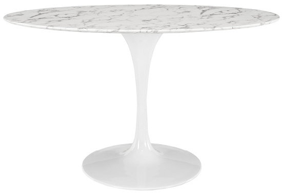 54 in. Lippa in White oval Artificial Marble Dining Table