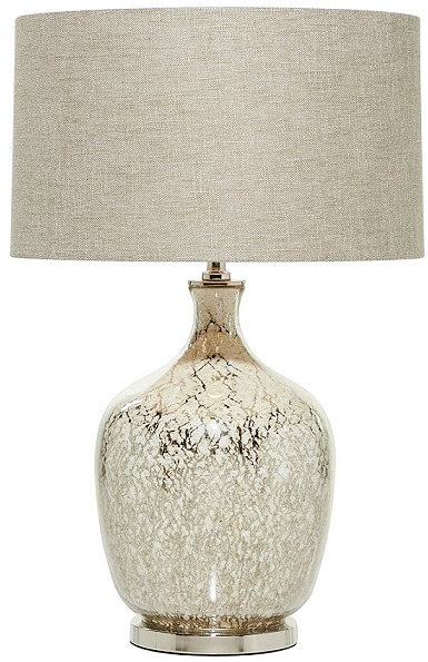 Beige Mercury Glass Table Lamp with Beige Drum Shade