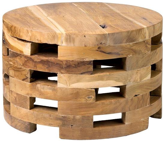 Celaya Solid Wood Drum Coffee Table