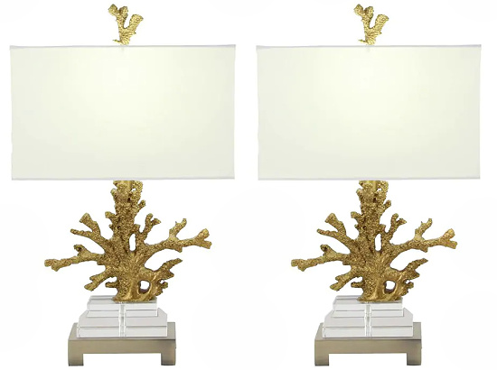 Coastal Couture Coral 26-inch Table Lamp (Set of 2)