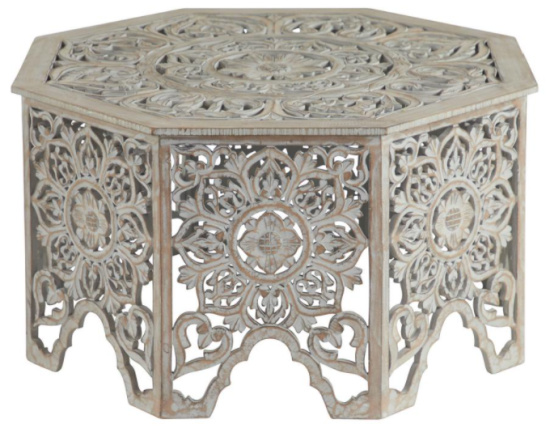 Gray-Washed Decorative Carved Wood Coffee Table