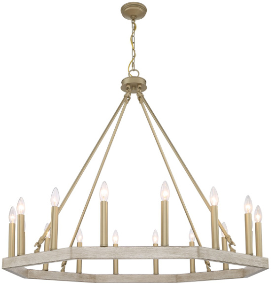 Langelier 16 - Light Candle Style Wagon Wheel Chandelier with Wood Accents