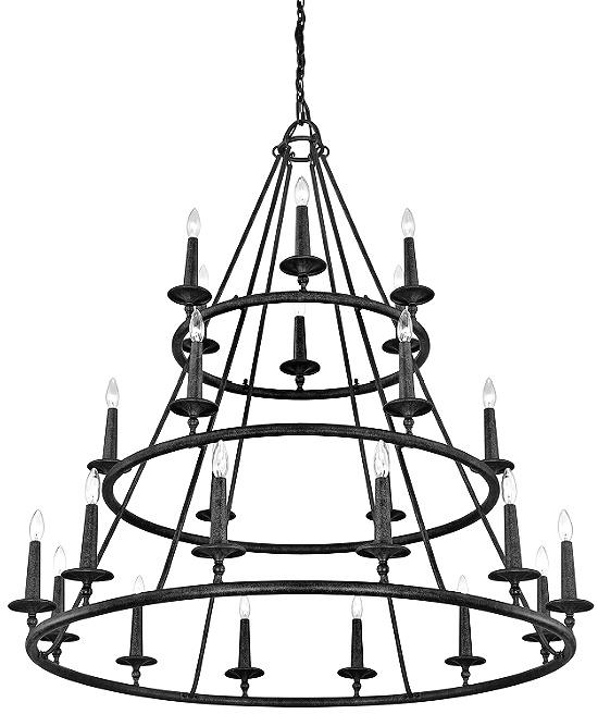 Nash 24 - Light Candle Style Wagon Wheel Chandelier