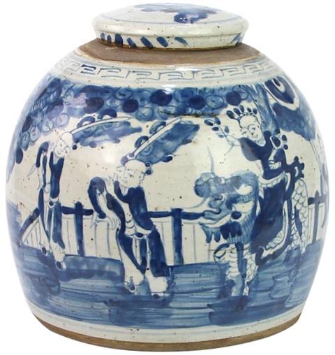 Blue/White Indoor / Outdoor Porcelain Ginger Jar