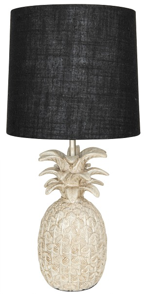Pineapple Shaped Table Lamp with Linen Shade