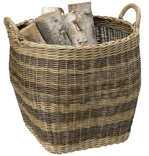 Wicker/Rattan Striped Storage Basket