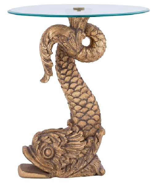 Round-Accent-Table-in-Antique-Gold-Clear-finish-with-Fish-Pedastal-Base---Material-Glass-Mango-Wood (2)