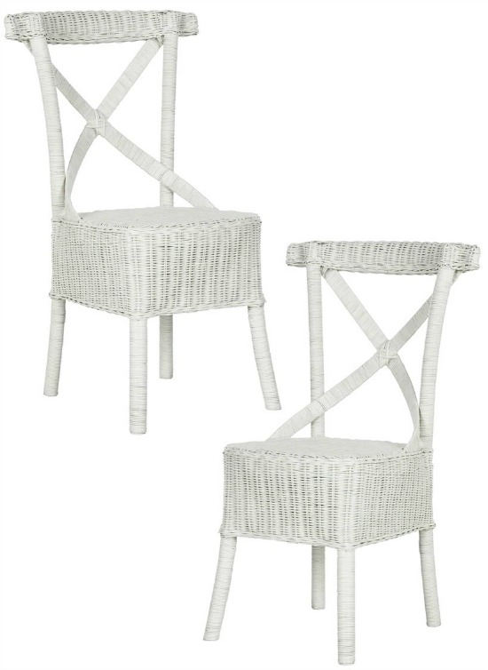Safavieh Rural Woven Dining Katell White Rattan Side Chairs (Set of 2)