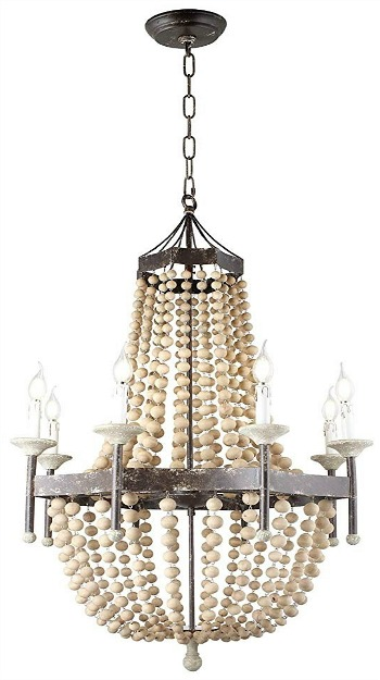 Scalloped Wood-Bead Chandelier Wooden French Country Chateau Antique Rustic Distressed Metal Frame