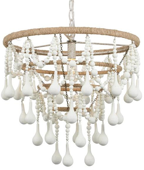 Seattle Modern Farmhouse 1-Light Dining Room Coastal White Chandelier with Boho Beaded Drops and Rope-Wrapped Accent
