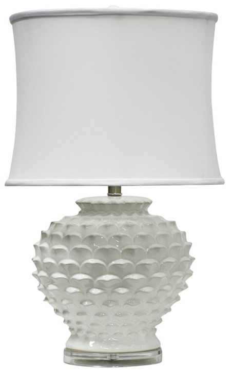 StyleCraft Atmore Ceramic White Table Lamp - White Softback Fabric Shade