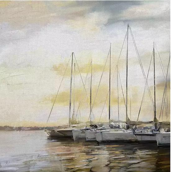 Sunset Harbor Square Canvas Art Print