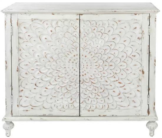 Suri Carved Front 2 Door Accent Cabinet