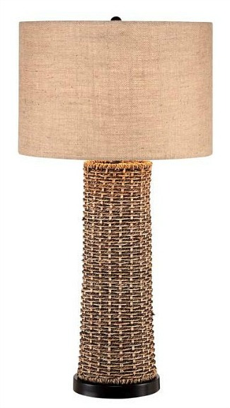 Woven Seagrass and Burlap Table Lamp