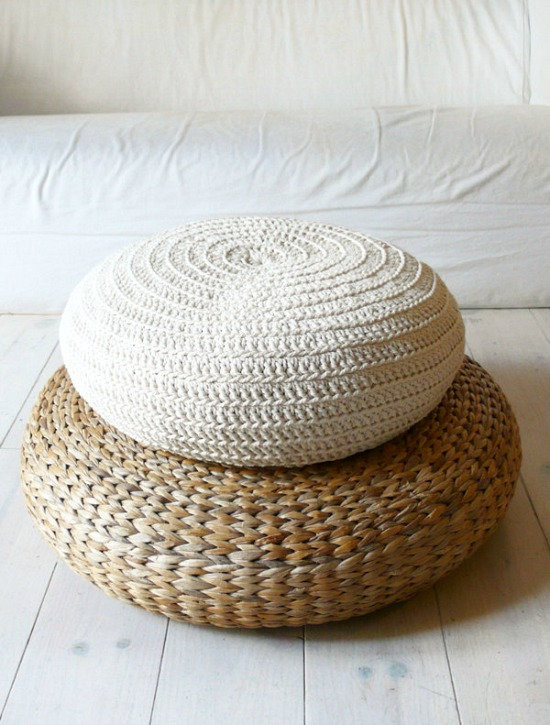 floor cushion crochet ecru