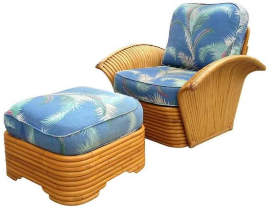 Restored Art Deco Rattan Fan Arm Lounge Chair with Ottoman