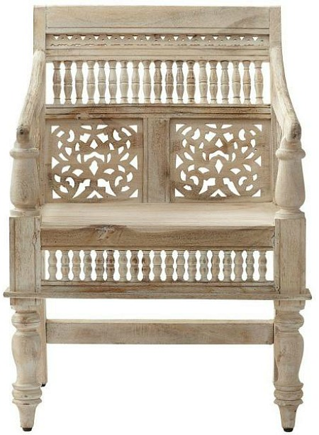 Maharaja Sandblasted White Wood Hand-Carved Arm Chair