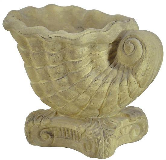 Cast Stone Shell Aged Limestone Planter