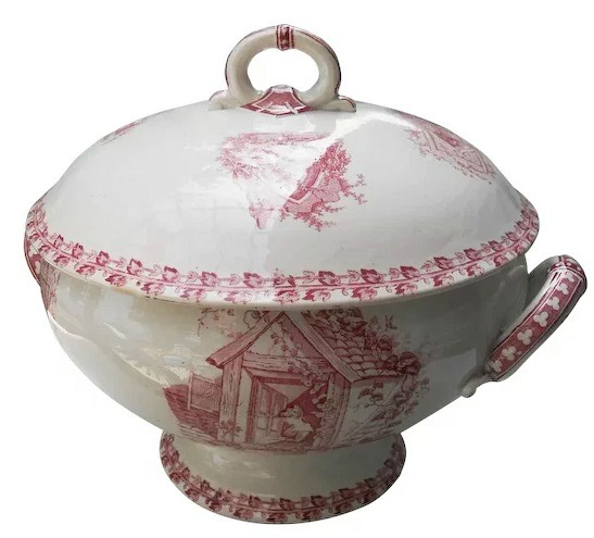 Antique French Country Red Transferware Covered Tureen