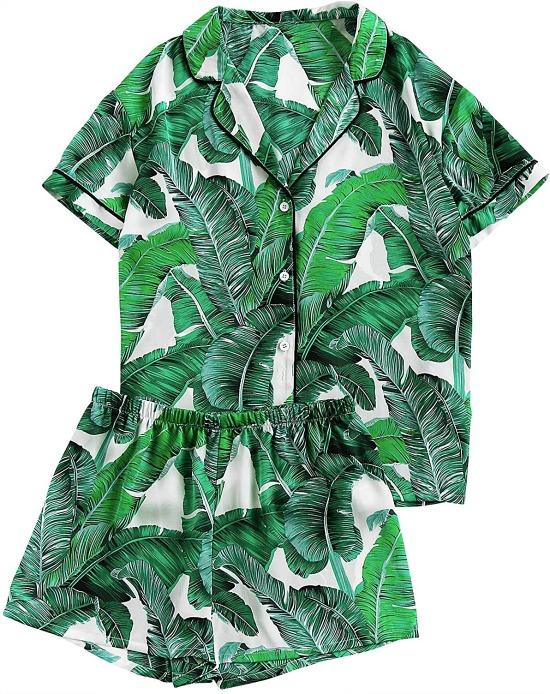 Floerns Women's Notch Collar Palm Leaf Print Sleepwear Two Piece Pajama Set