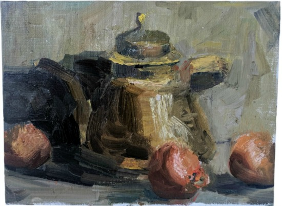 Still Life Oil Painting Teapot and Oranges