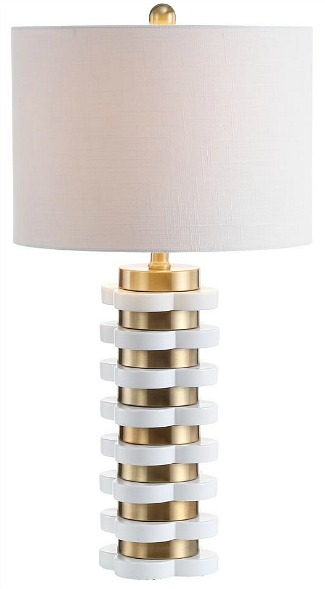 "Wellington 26.5"" Quatrefoil Striped Resin LED Table Lamp, Brass by JONATHAN Y"