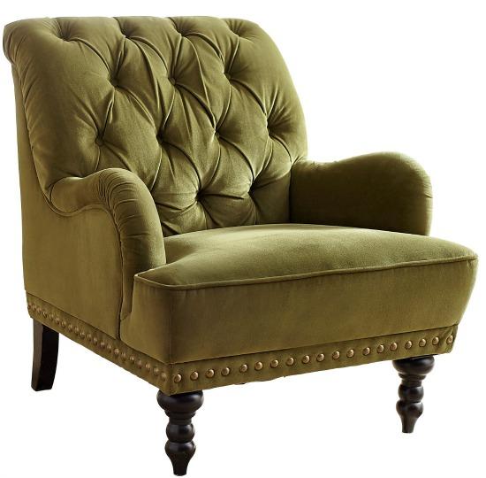 Chas Olive Green Velvet Armchair