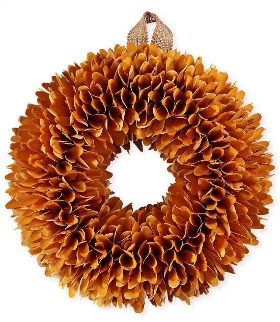 wood chip wreath orange