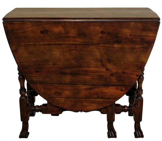 Walnut Gateleg Drop Leaf Table w. Drake Carved Feet