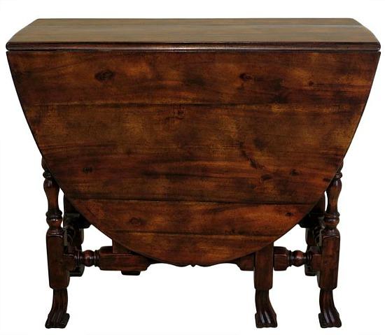 Walnut Gateleg Drop Leaf Table w. Drake Carved Feet