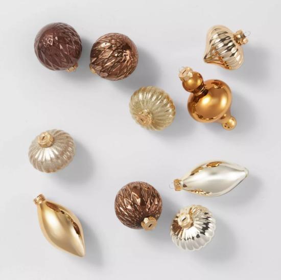 10ct Mixed Metals Glass Ornaments Gold Copper Bronze - Wondershop™