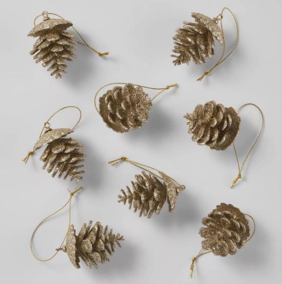 8ct Glitter Pine Cone Christmas Ornament Set Champagne - Wondershop™