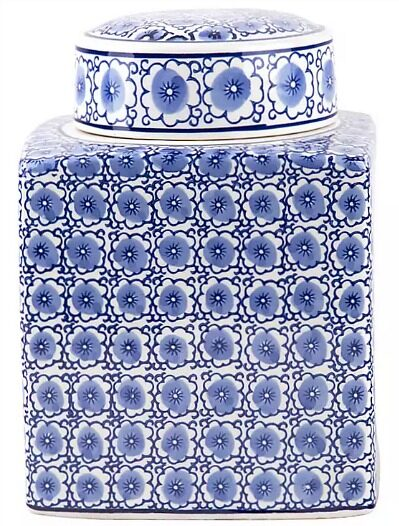 Blue and White Floral Biscuit Jar